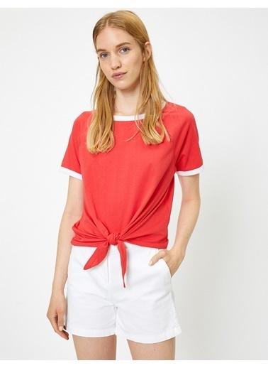 Koton Bağlama Detaylı T-Shirt Kırmızı